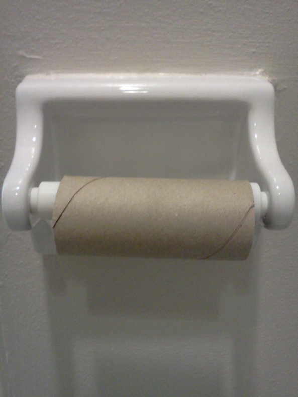 Who left a empty toilet roll in the bathroom?