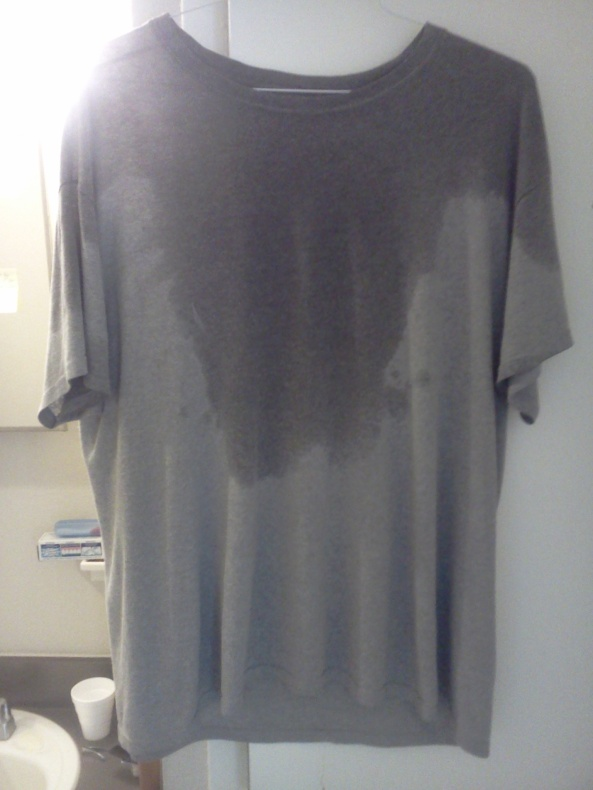 Wet t-shirt from working out