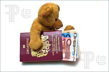 Bear with passport leaving his beloved