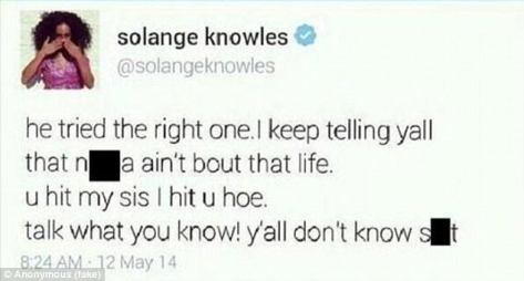 Solange's deleted tweet she didn't want no one to see.