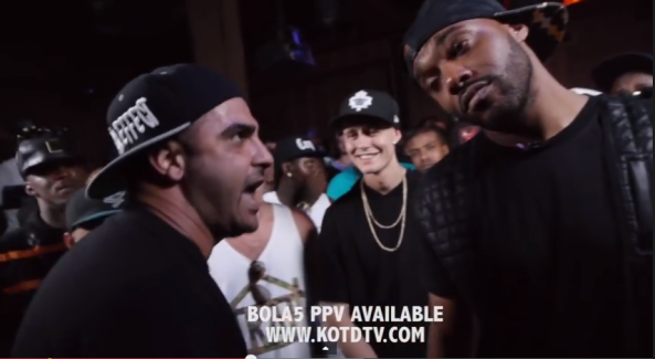 screenshot of math hoffa and dizaster battle at kotd bola5
