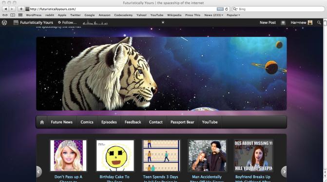 Screenshot of Futuristically Yours homepage