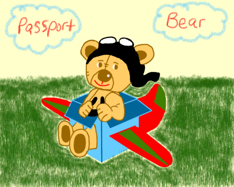 Passport Bear playing with boxes