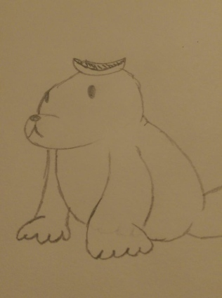 bear with pineapple on head